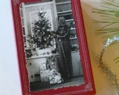 HALF PRICE SALE!  Upcycled Vintage Photograph Christmas Gift Box for Trinkets or Gift Cards - Tinsel Accent