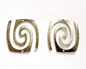 2 Antique Silver Swirl Connectors - 1-36