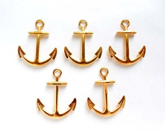 5 Gold Anchor Pendant/Charms - 20A-5