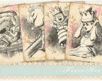 Alice in Wonderland Greeting Cards on Digital Collage Sheet Shabby cards Printable download Vintage cards - SHABBY ALICE CARDS