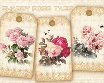 Vintage flower gift tags on Digital collage sheet Printable sheet