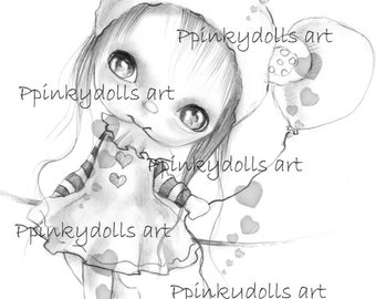 INSTANT DOWNLOAD Digital Digi Stamps..by Chrishanthi's art,Candy circus Lily.