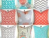 PILLOWS ORANGE Outdoor Pillows Teal Orange Grey Decorative Throw Pillow Covers Turquoise Gray 18x18 20x20 Pillows .ALL Sizes. Home Decor