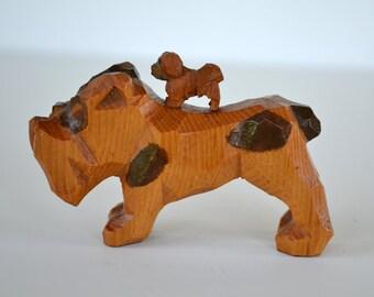 Vintage Hand-Carved Dog Figurines | Boxer | Dog Collectible | Folk Art | Primitive | Carved Wooden Dogs