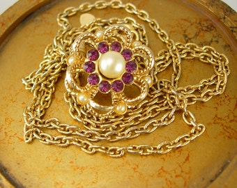 Floral Amethyst Pearl Necklace Brooch Vintage mother of the bride bridesmaid gift
