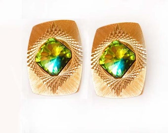 Vintage Cufflinks Austrian Rivoli  Diamond Etched Prism Glass Wedding Businesswoman