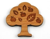 2 Medium Cherry Wood Little Apple Tree, 50 mm wide, laser cut wood