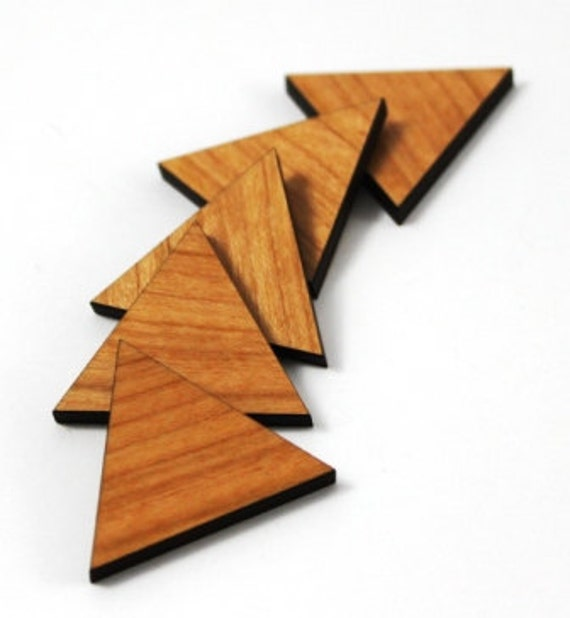 Laser Cut Supplies- 8 Pieces.Triangle Charms - Cherry Wood Laser Cut Triangle -Earring Supplies- Little Laser Lab Sustainable Wood Products