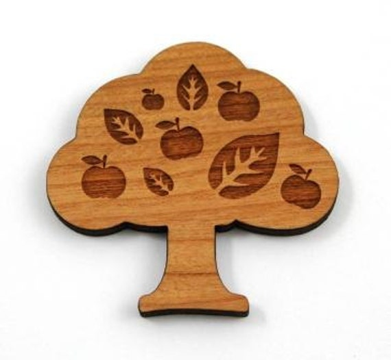 Laser Cut Supplies-1 Piece.Apple Tree Charms - Cherry Wood Laser Cut Apple Tree -Brooch Supplies- Little Laser Lab Sustainable Wood Products