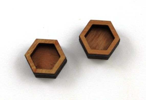 Laser Cut Supplies-8 Pieces.Bezel Hexagon Charms - Laser Cut Wood -Earring Supplies- Little Laser Lab Sustainable Wood Products