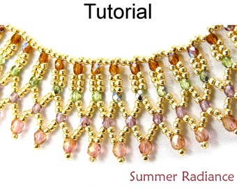 Beading Tutorial Pattern Necklace - Netting Stitch - Simple Bead Patterns - Summer Radiance #5099