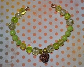 SALE Green Beaded Charm Bracelet
