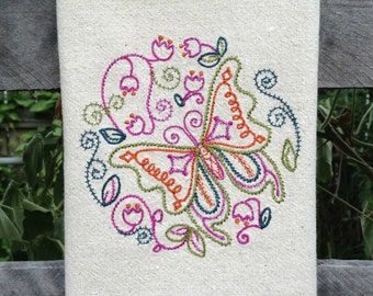 Dish Towel Vintage Style Butterfly Jewel Tones Embroidered Kitchen Towel