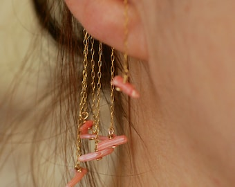 Coral ear cuff, pink gold ear cuff, Gold earring, Rose Gold ear cuff, minimalist ear cuff, gemstone ear cuff, coral earrings