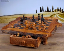 "olive wood chessboard  - unique - perfect gift - present 17"" x 17""  -""expedite shipping"""