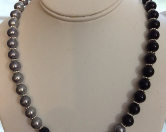 Black and Gray Pearl Necklace.