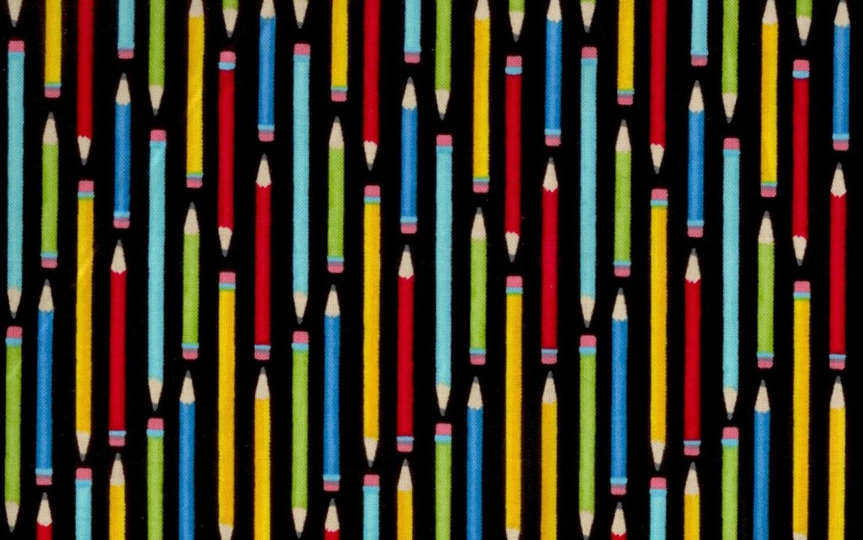 Pencils fabric black school supplies teachers half yard for Fabric supply