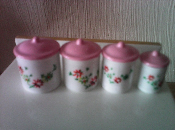 pink canisters kitchen pink white kitchen canister set for dolls house kitchen 14554