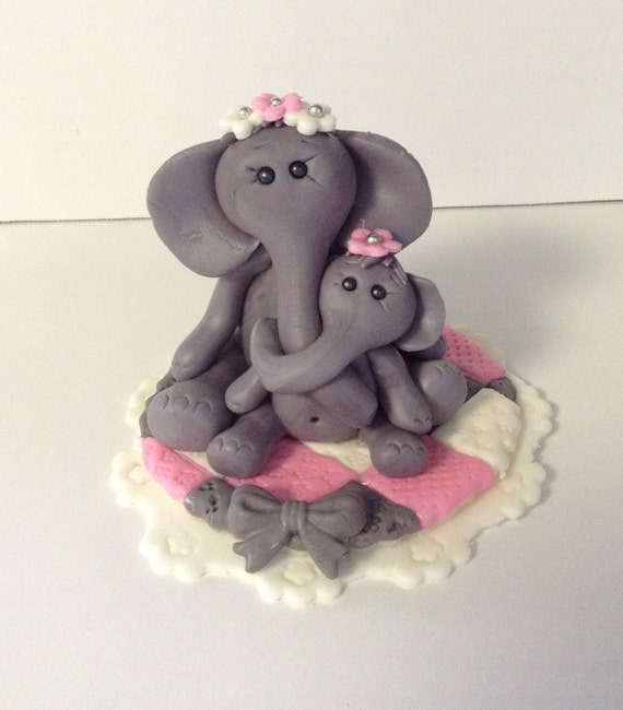Items similar to ELEPHANT CAKE TOPPER Fondant baby shower ...