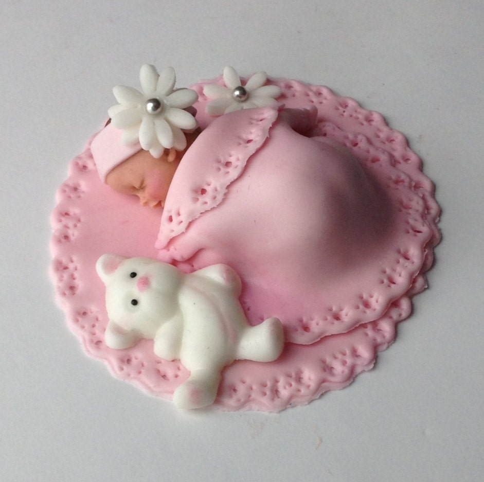 BABY SHOWER CAKE Fondant Cake Topper Baby girl edible cake