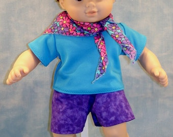 Pink, Blue, Purple Daisies Boy's Shorts Outfit made to fit 15 inch baby dolls