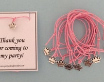 10 Pale Pink PRINCESS CROWNS Charm Friendship Bracelets and Cards - Thank You For Coming To My Party - Party Bag Fillers