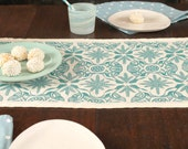 """87"""" Block Printed Linen Table Runner """"Persephone"""" designed and printed by Julia Garrison"""