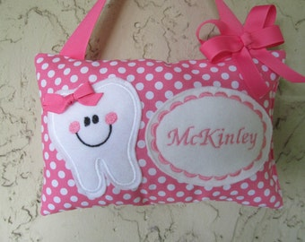 Tooth Fairy Pillow Personalized Hot Pink Polka Dots