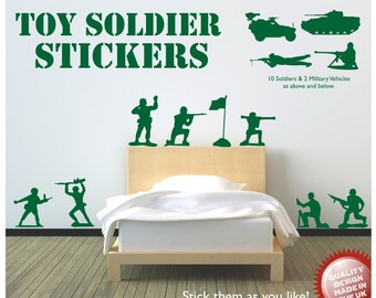 Toy Soldiers Vinyl Wall Decals (10 Soldiers 2 Vehicles)
