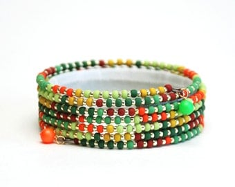 Tropical Rainforest Seed Bead Memory Wire Bracelet - Green, Yellow, and Orange Beaded Wrap Bracelet - Handmade Jewelry
