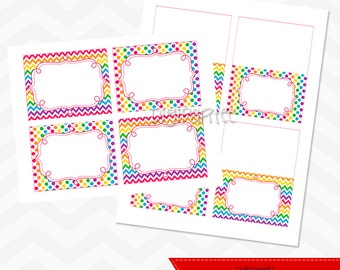 Rainbow Chevron Food Labels and Tents - INSTANT DOWNLOAD
