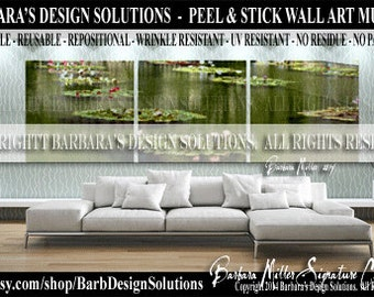 Triptych Wall Art  Eco Friendly Artisan Peel and Stick Fabric Wall Art Murals -    American Made Products by BDS