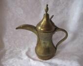 Brass Turkish Egyptian teapot, Morrocan teapot, Decorative brass teapot, long spout, etched brass