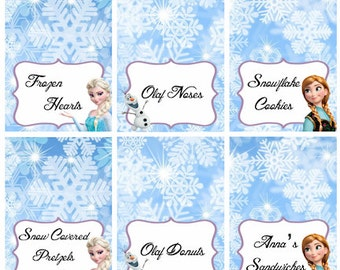Disney Frozen Food Labels Placecards Tent Cards Favor Tags - PERSONALIZED