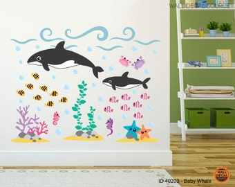 Ocean Wall Decal -  Under The Sea Orca Stickers - Whale and Fish Wall Decal - Whale Decals