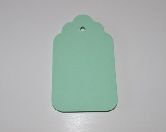 "50 Large Blank tags with scalloped top, holes for string , Mint green. Wedding wish tree tags,4""x 2.25"""