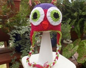 Multicolored Owl Earflap hat size 2--3 toddler reserved for Carolyn