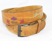 Brown Leather Painted Soft Mushroom Butterfly Vintage Belt Womens
