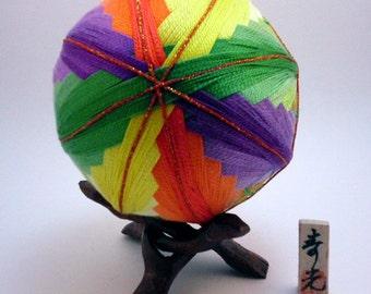 """Japanese Temari Ball - Fusen (balloon) Design (4 3/16"""")"""