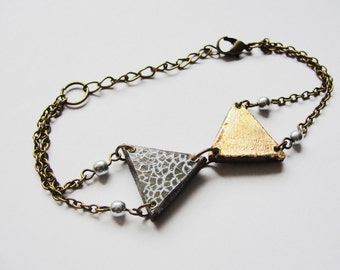 Triangles IX. Giornata e Luna series. bracelet hand cut and handpainted, watercolour wood Made to order