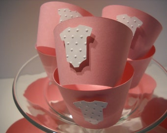 Embossed Baby Cupcake Wrappers in Pink - Boxed Set of 12