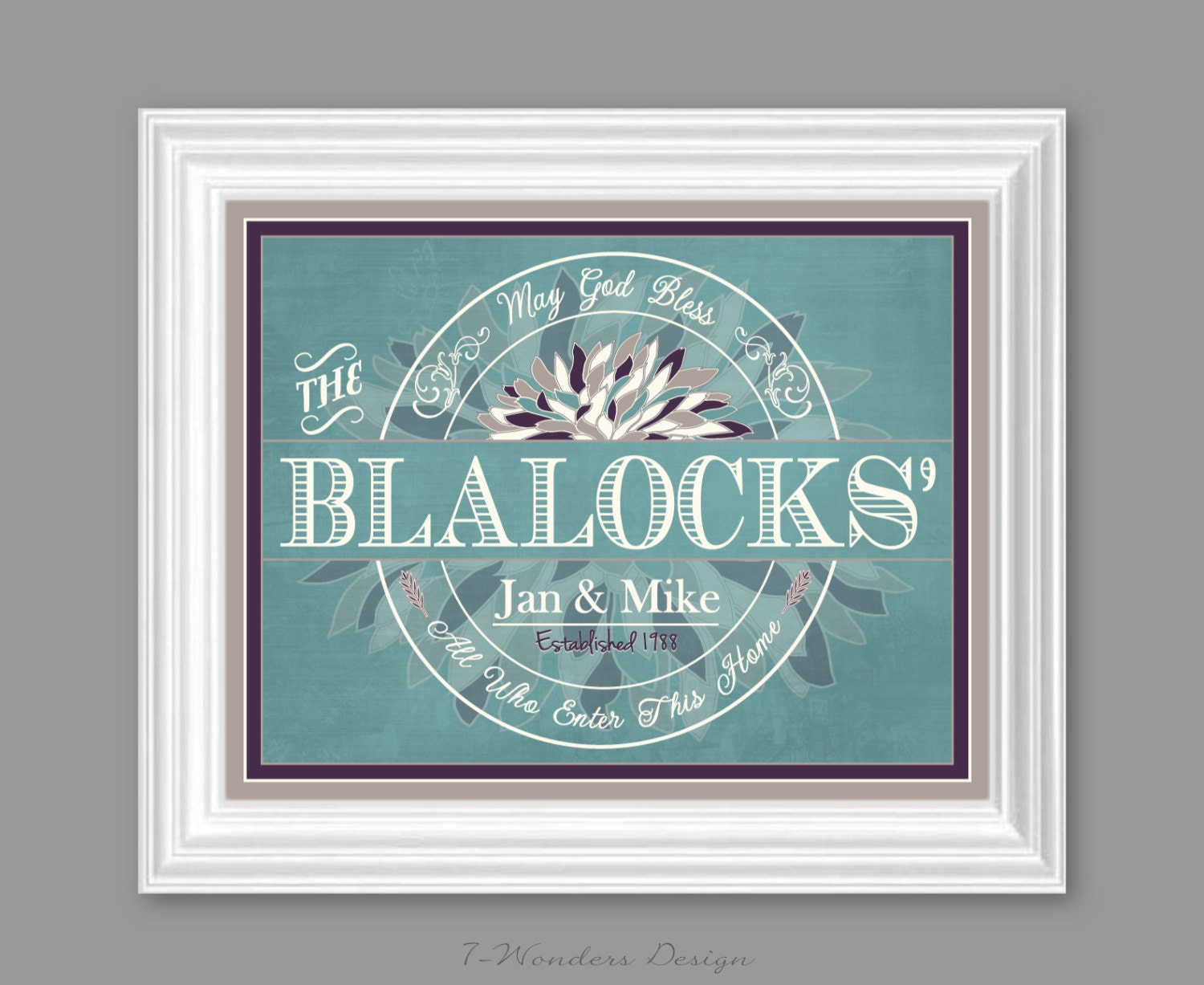 family last name sign art print personalized family wall. Black Bedroom Furniture Sets. Home Design Ideas