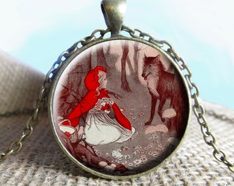 Little Red Riding Hood Image Pendant, Little Red Riding Hood, Necklace, Fairy Tales, Once Upon a Time