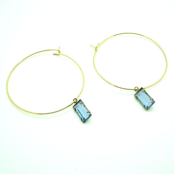 Simple gold-toned  hoops earrings adorned with chic light blue charm - Chic and cheap - Easy to wear.