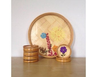 Bamboo Tray and Coaster Set with Flattened Flowers