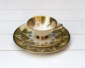 Rare Vintage German Teacup and Saucer Trio Set- Yellow and Gold Graphic
