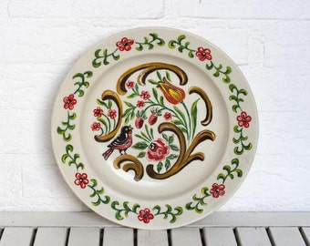 SALE Vintage German Large Hand Painted Folk Ceramic Round Bowl- Cream Floral with Birds Decorative