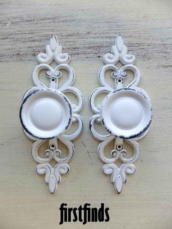2 Knobs With Lacey Back Plates Shabby Chic White Cupboard