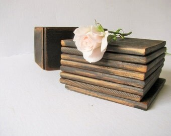 Eight wood coasters with matching stand. Rustic wood wedding coasters. Handmade by WoodaCooda.