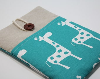 "Kindle Fire HD 8 case Giraffe Teal  Kindle Fire 7"" Cover Kindle Paperwhite Case Tab 4 Nook Cover Foam padded with Pocket- Teal Giraffe"